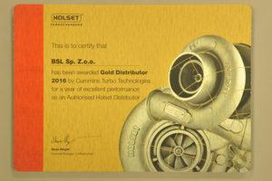 Złoty Dystrybutor 2016  marki Holset