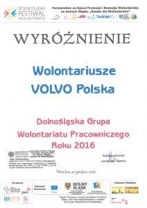 Tytuł Dolnośląskiej Grupy Wolontariatu Pracowniczego Roku 2016 dla Volvo Polska