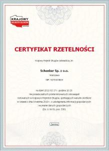 Rzetelność DB Schenker potwierdzona certyfikatem