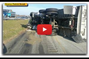 Tak wygląda wywrócenie ciężarówki z perspektywy kierowcy