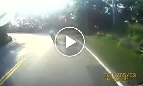 Zderzenie rowerzysty z ciężarówką – video dla ludzi o mocnych nerwach