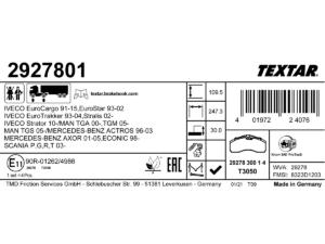 Nowe etykiety klocków hamulcowych Textar