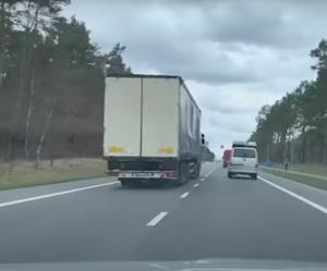 Spychał ciężarówką z drogi innego uczestnika ruchu [FILM]